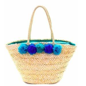 Handbags - Blue Pom Pom Straw Beach Bag